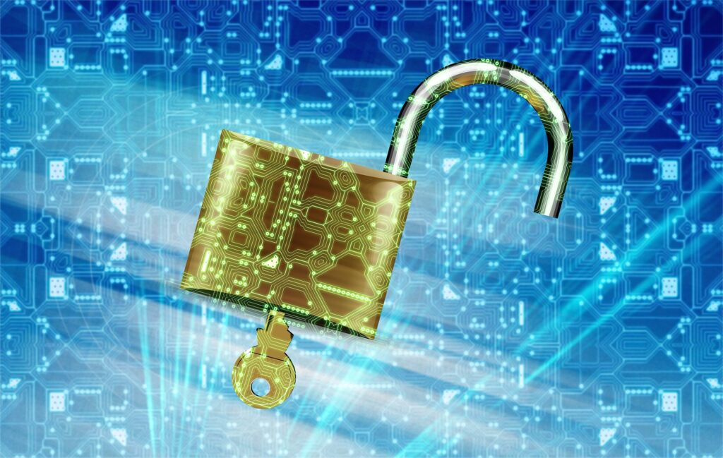 Image of open lock with key overlayed with circuit board.