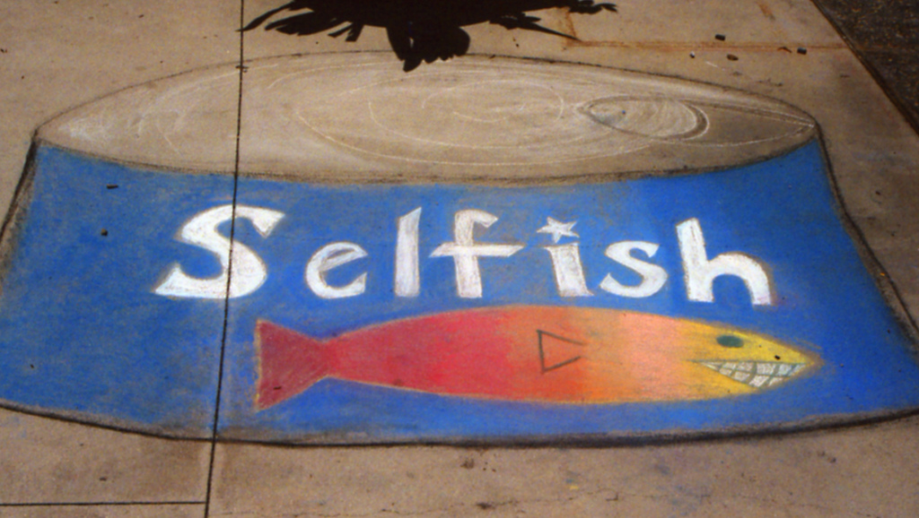 Drawn picture of a can with the word 'selfish' and a fish underneath.
